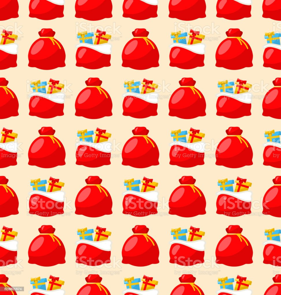 Happy New Year seamless pattern bagful with gifts vector art illustration