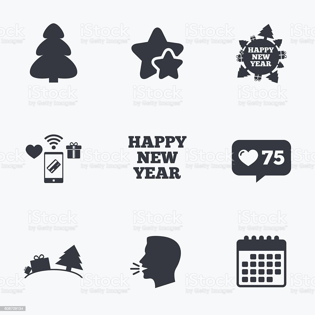 Happy new year sign. Christmas trees. vector art illustration