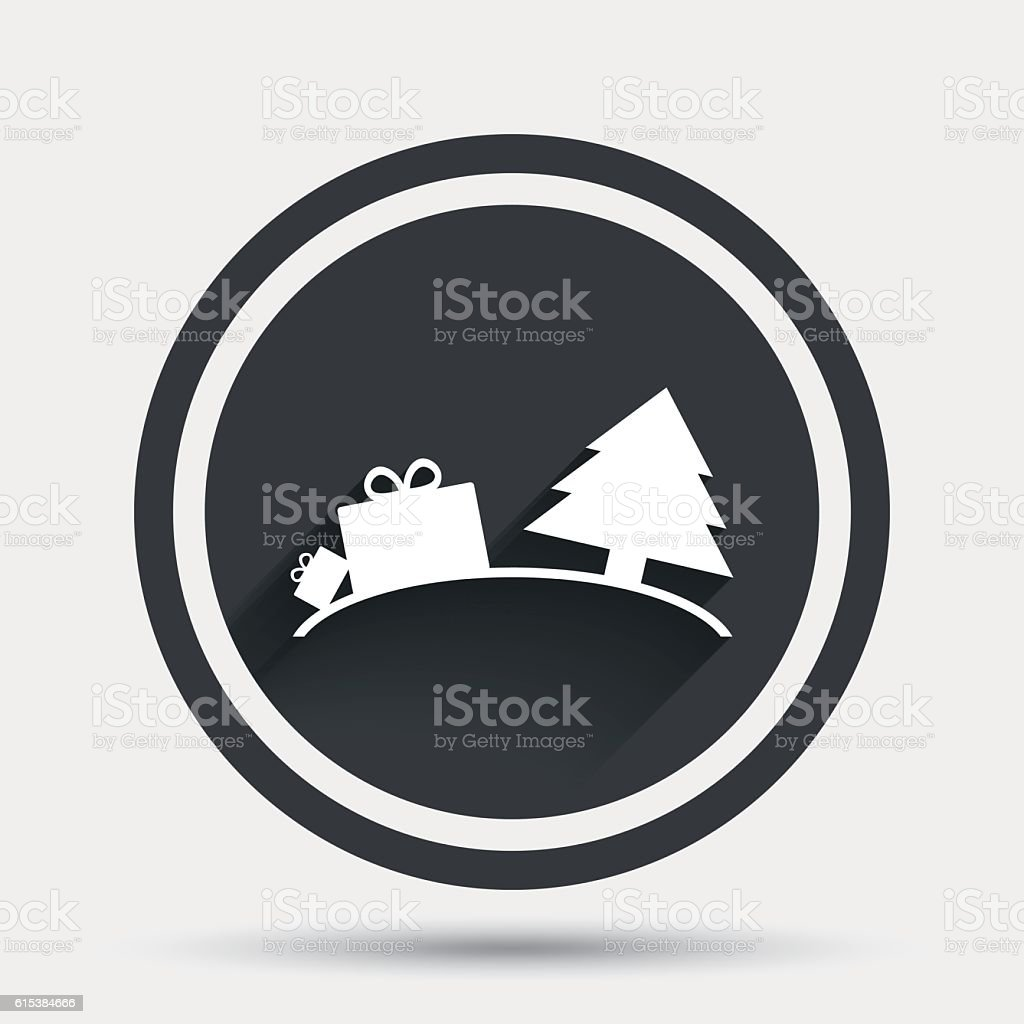 Happy new year sign icon. Gifts and tree. vector art illustration