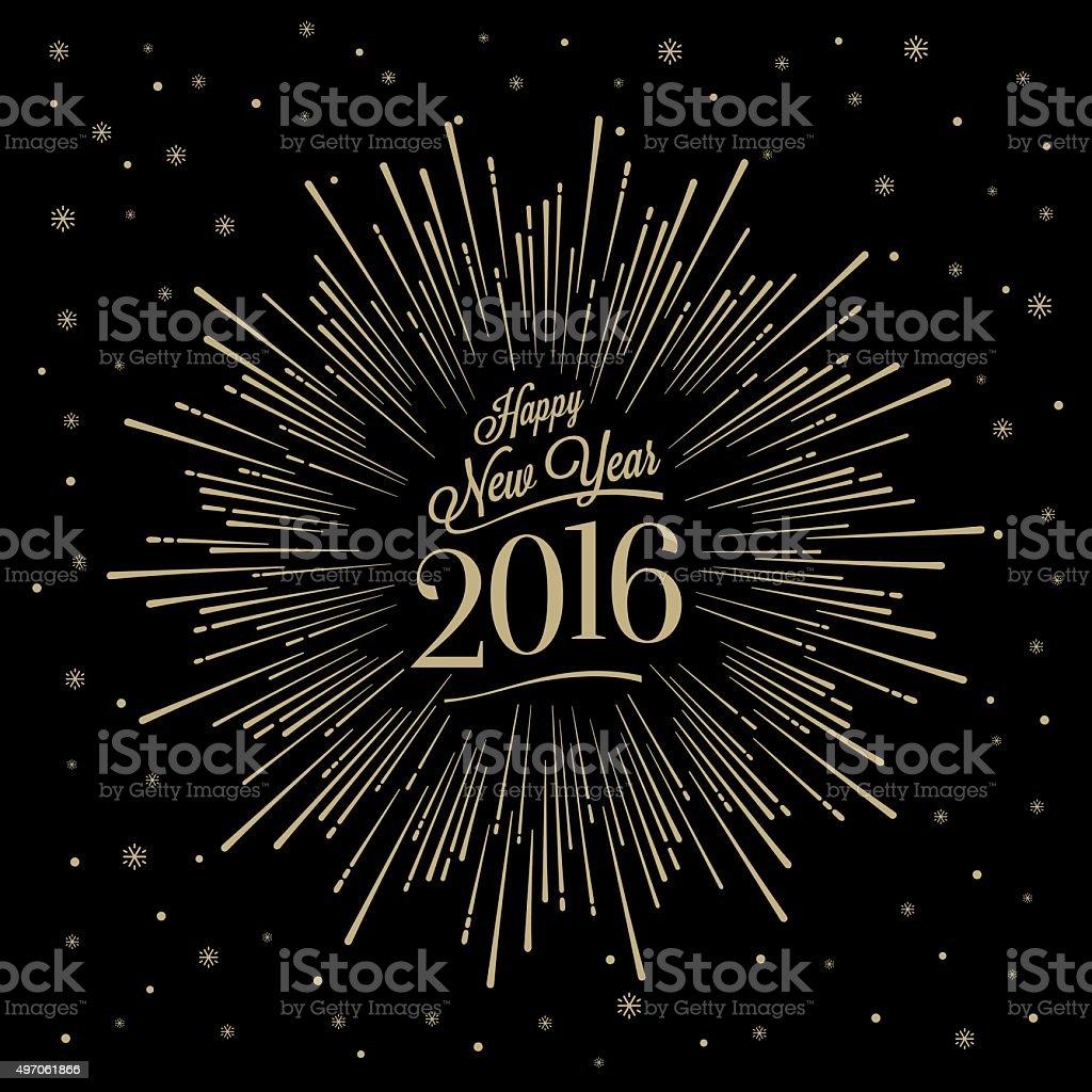 Happy New Year Starburst vector art illustration