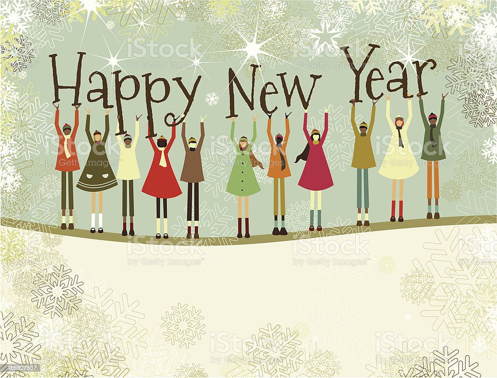 Happy New Year text and christmas children vector art illustration