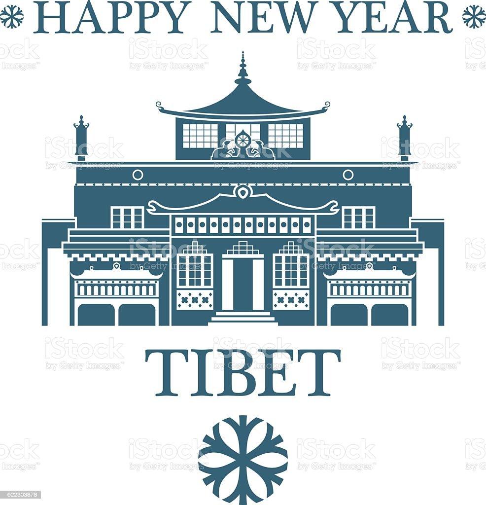 Happy New Year Tibet vector art illustration