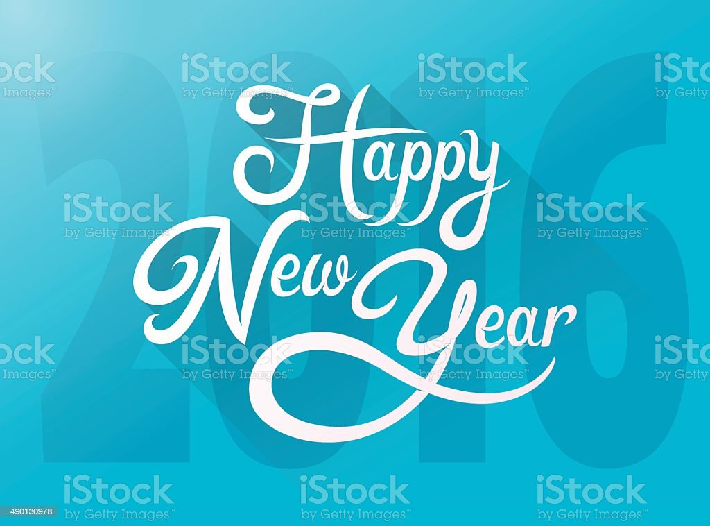 Happy New Year two thousand sixteen vector art illustration