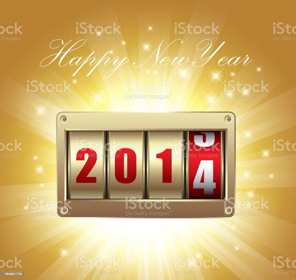 Happy new year (2014) vector art illustration