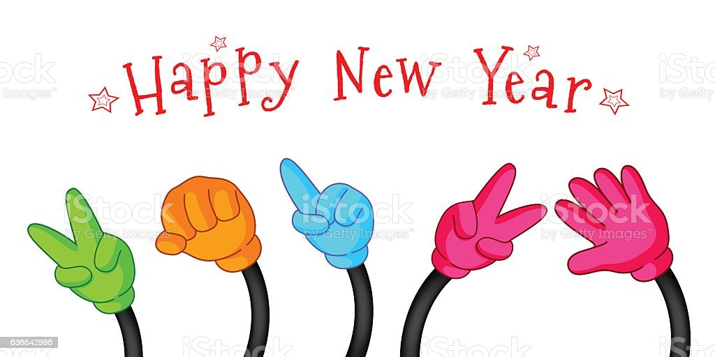 Happy New Year with colorful hand sign. vector art illustration