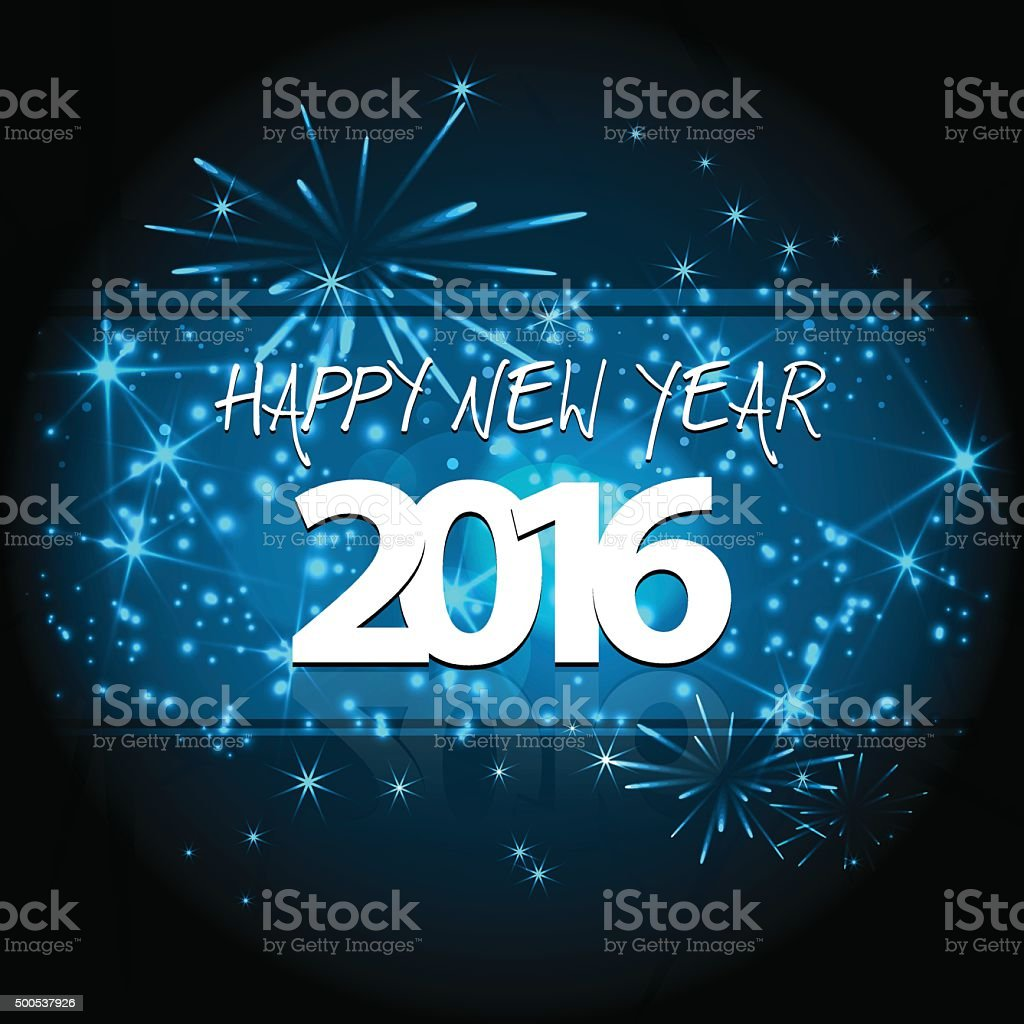 Happy New year's eve 2016 at night with firekworks stars vector art illustration