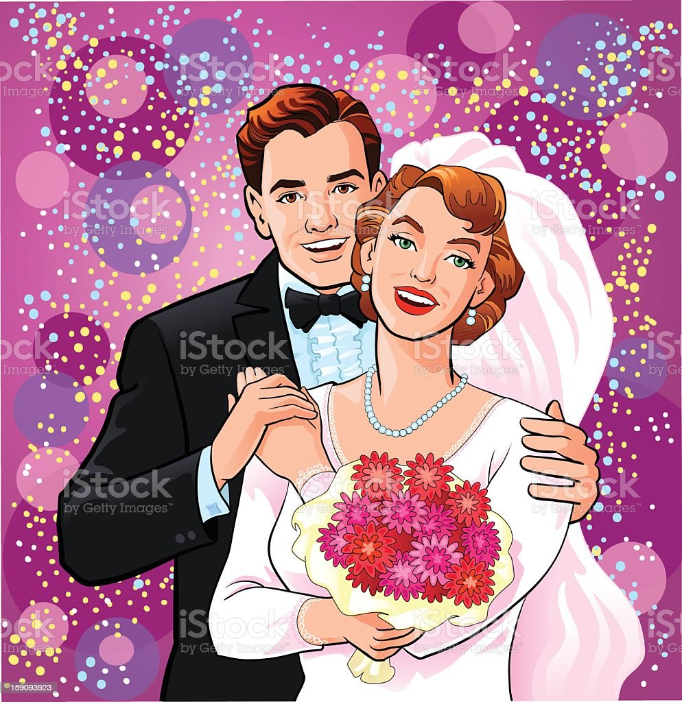 Happy Newly Wedded Couple royalty-free stock vector art