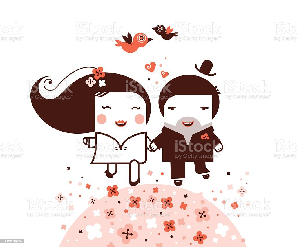 Happy newlywed skipping through flowers royalty-free stock vector art