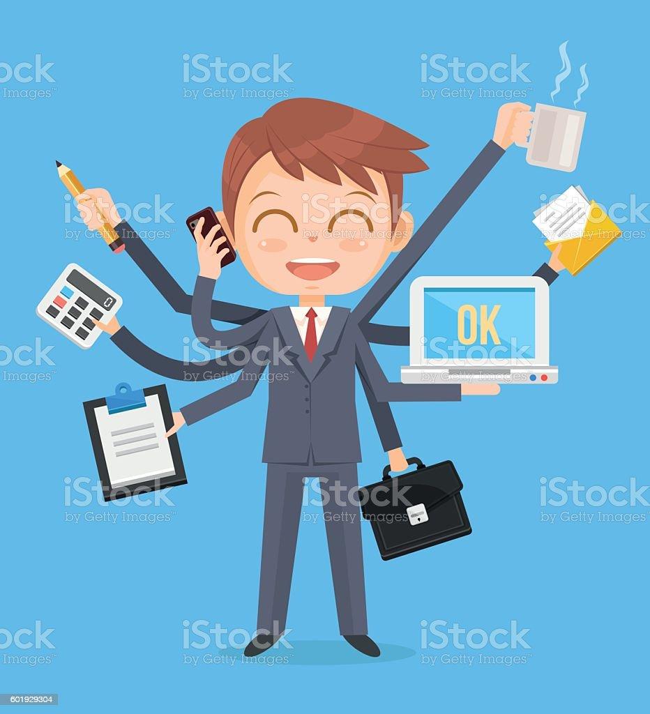 Happy office man character. Multitasking hard work vector art illustration