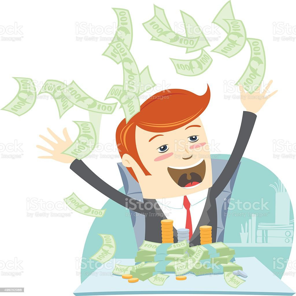 Happy office man hipster sitting at table and throwing money vector art illustration