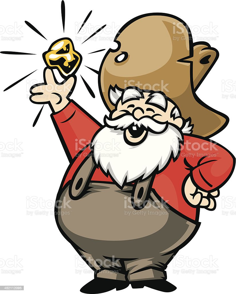 Happy old gold miner displaying his find vector art illustration