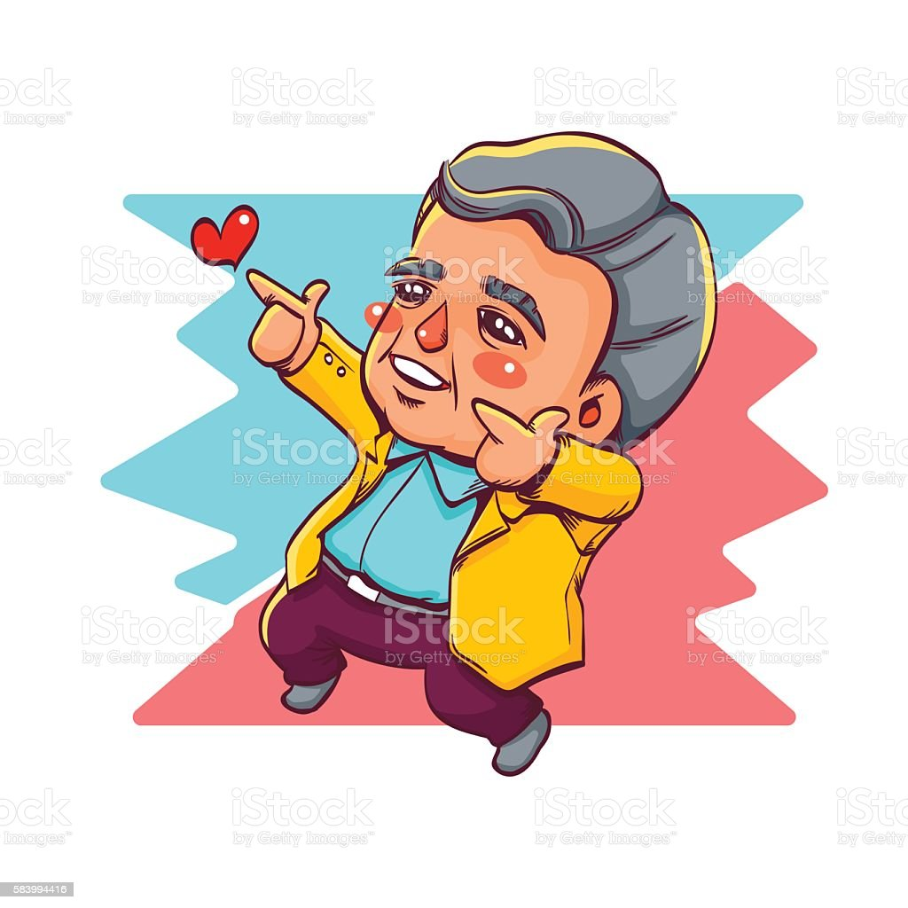 Happy Old Man Two Hands Pointing for Love vector art illustration