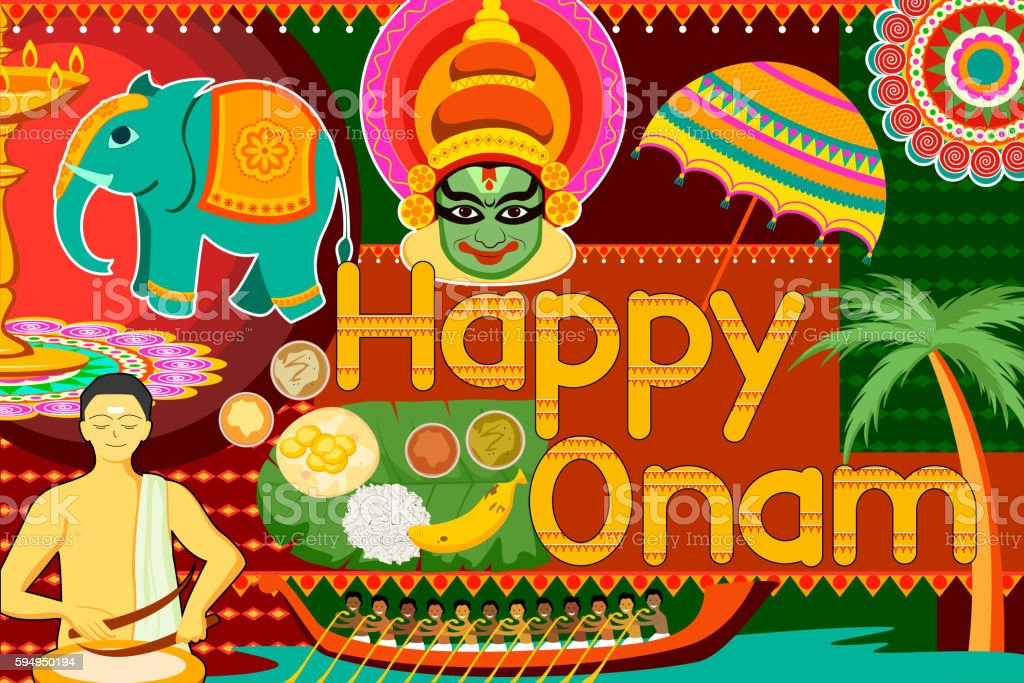 Happy Onam festival celebration background vector art illustration
