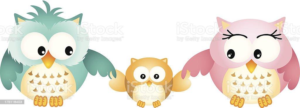 Happy Owl Family royalty-free stock vector art