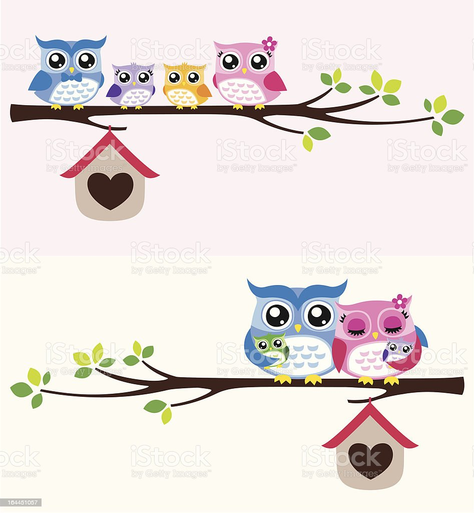 happy owls family sitting on a tree branch vector art illustration