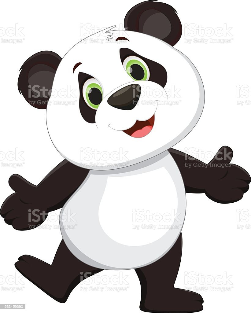 happy panda cartoon vector art illustration