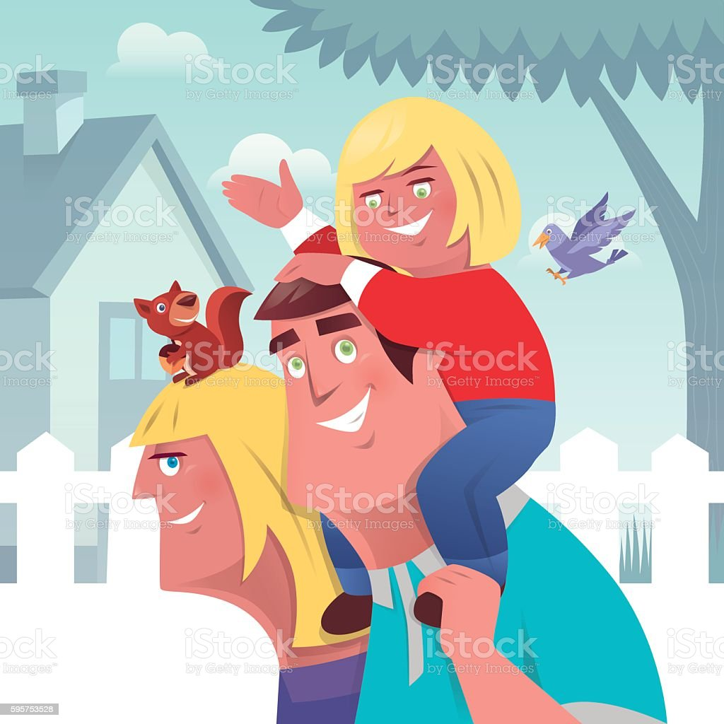 happy parents with daughter vector art illustration