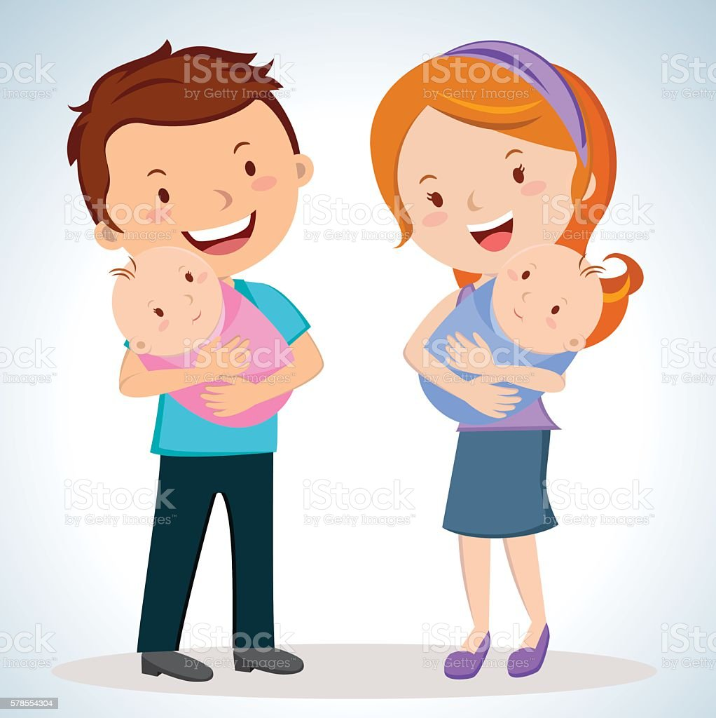 Happy parents with twin babies vector art illustration