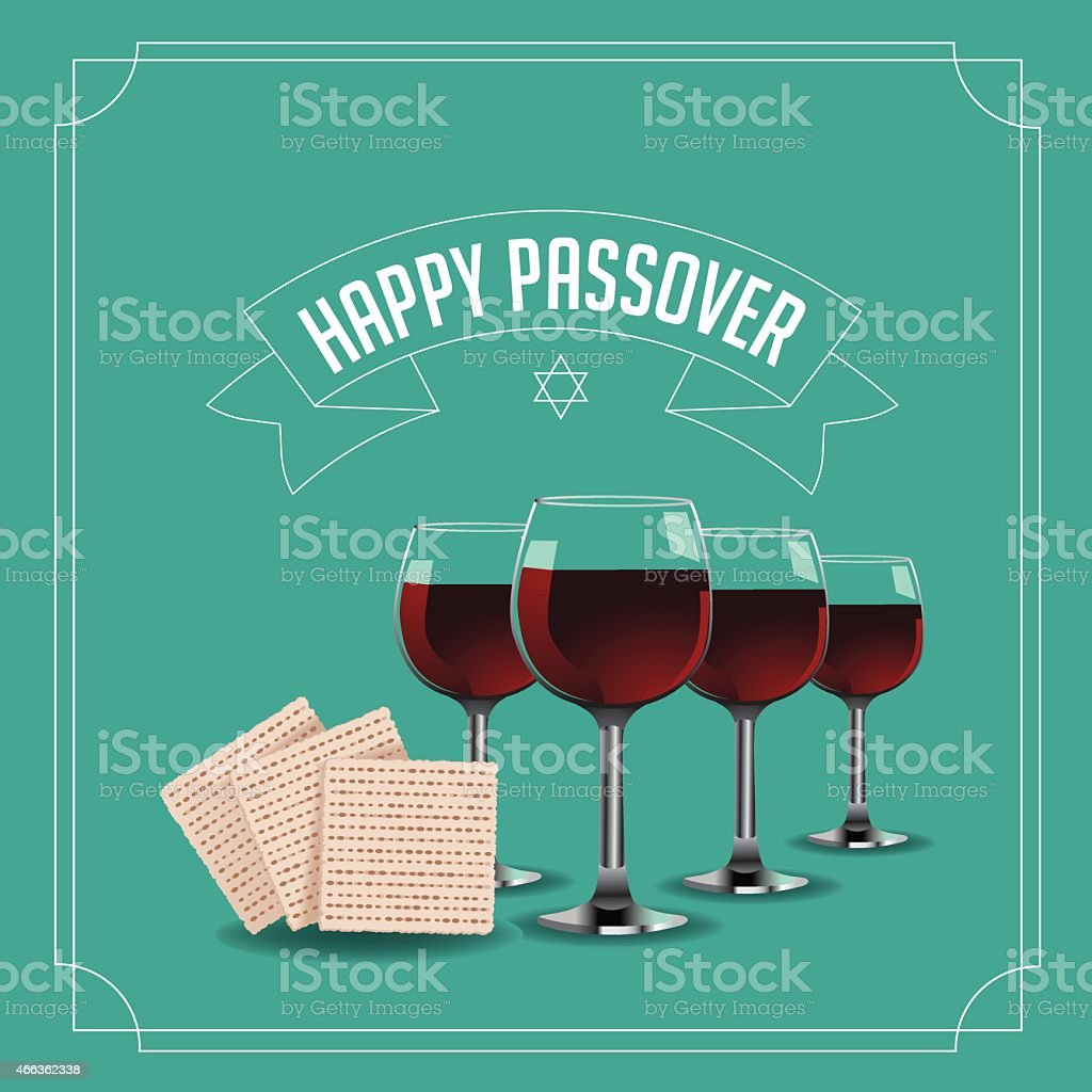 Happy Passover design traditional matzoh and wine EPS 10 vector vector art illustration