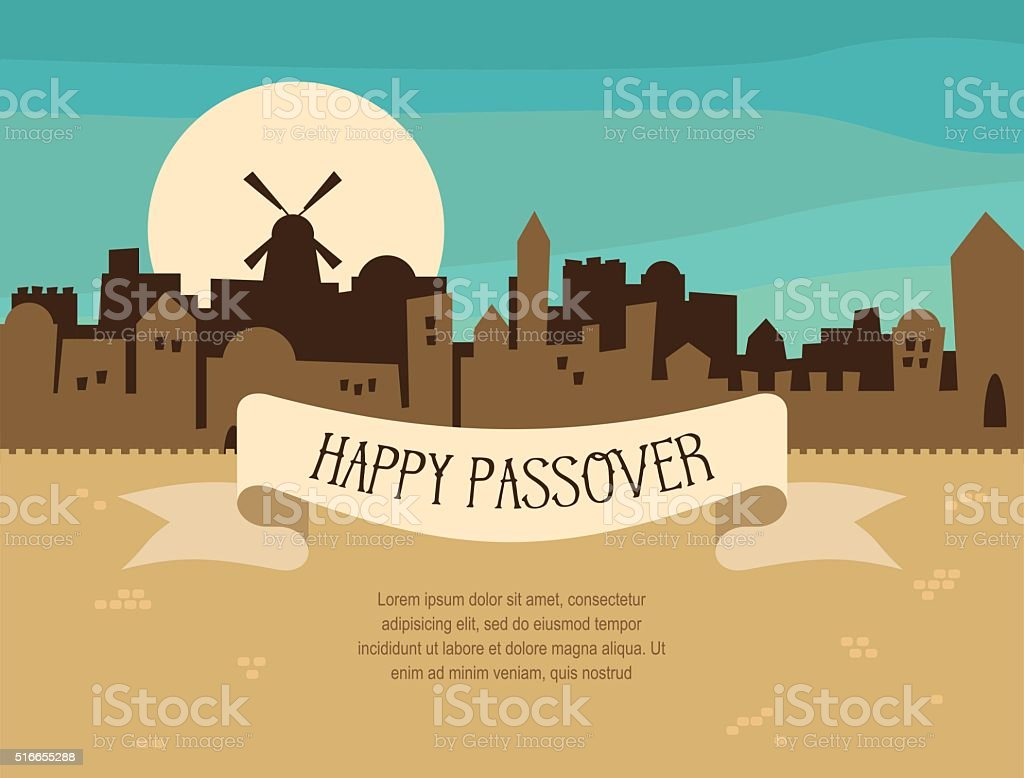 Happy Passover greeting card design with Jerusalem city skyline vector art illustration