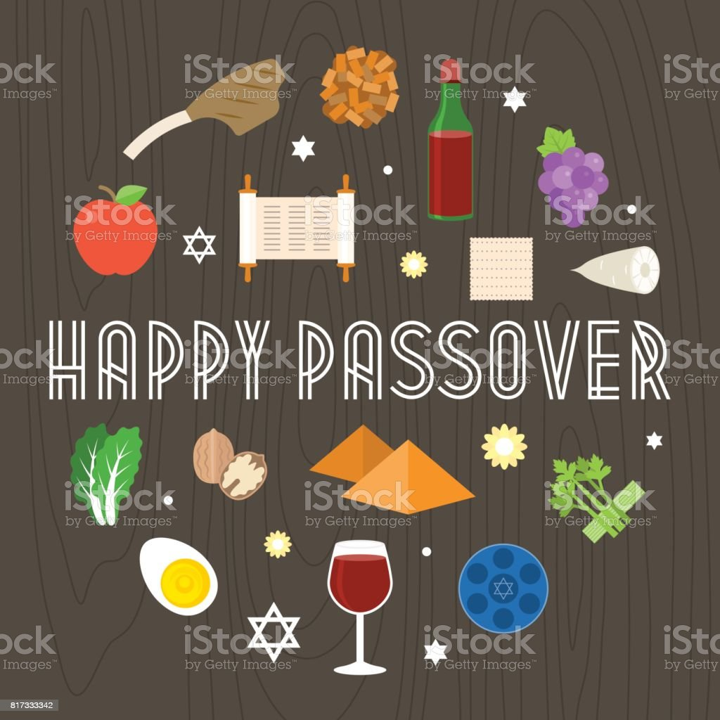 Happy passover illustration with icon and element such as seder plate vector art illustration
