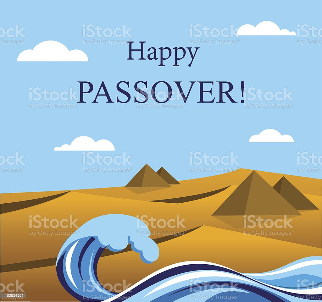 happy Passover- Out of the Jews from Egypt. vector art illustration