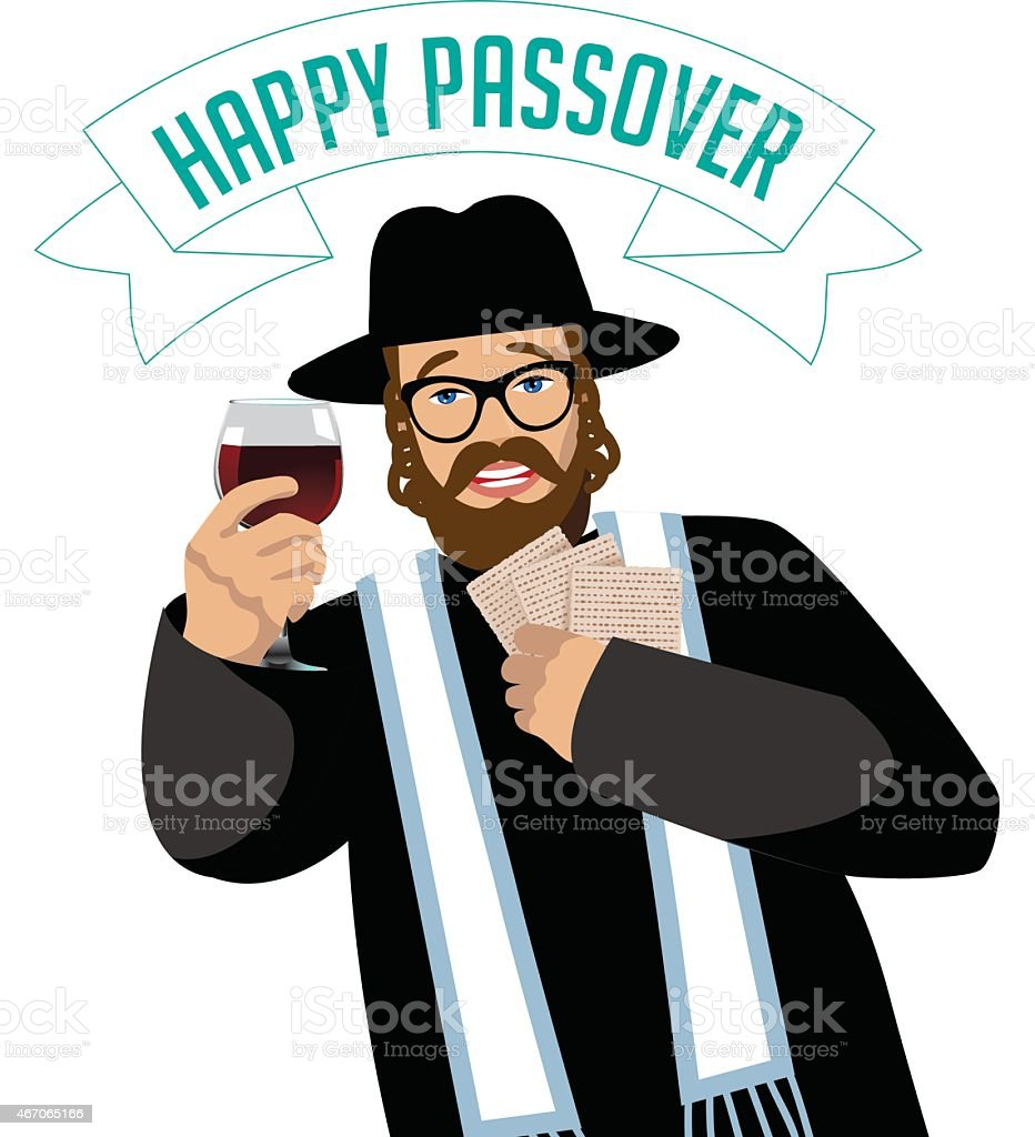 Happy Passover Rabbi with traditional matzoh and wine vector art illustration