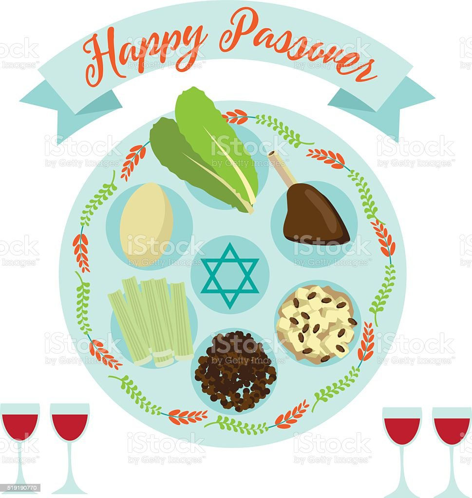 Happy Passover Seder meal greeting card poster design. vector art illustration
