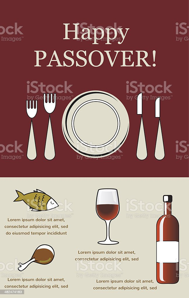 Happy Passover- Seder Pesach with holiday elements vector art illustration