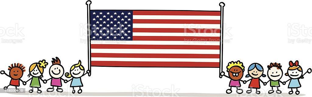 happy patriotic american children with USA flag cartoon image royalty-free stock vector art