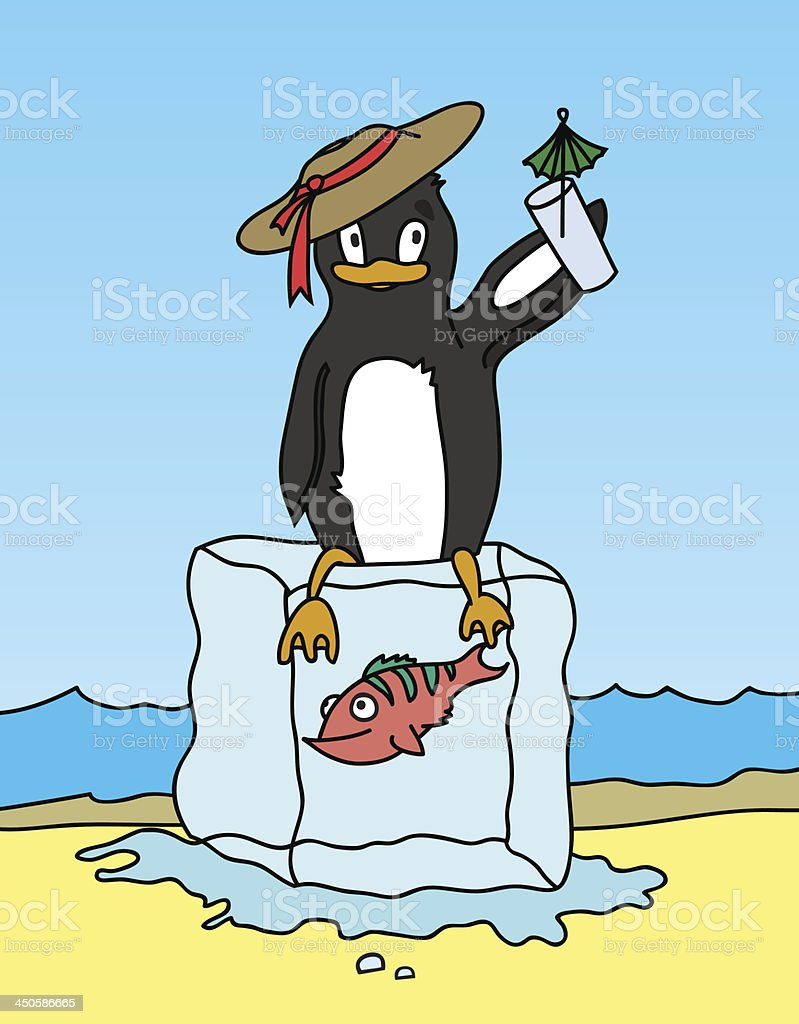 Happy penguin holding a drink royalty-free stock vector art