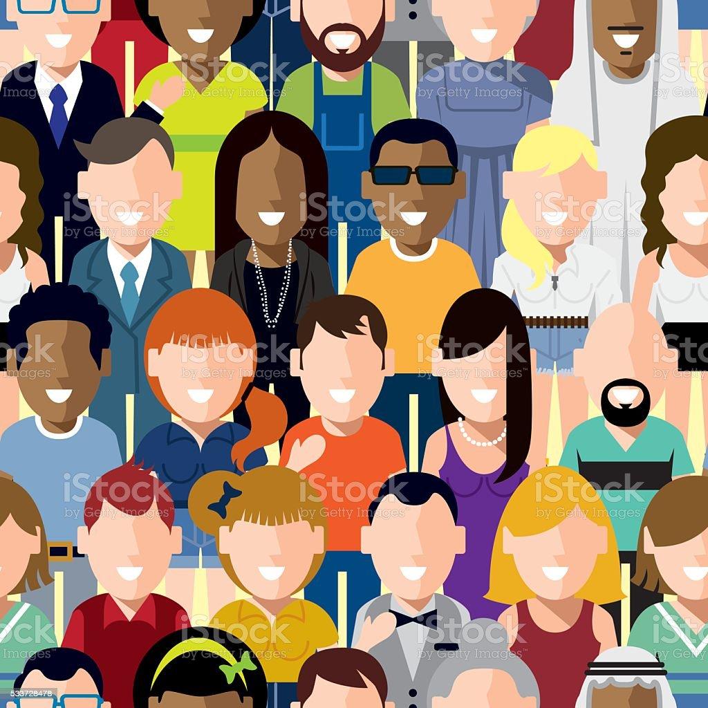 Happy People Seamless Pattern vector art illustration