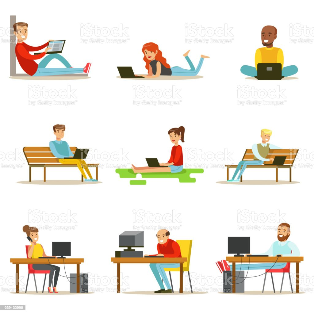 Happy People Spending Their Time Using Computer Collection vector art illustration