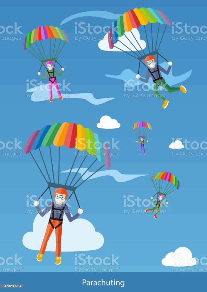 Happy Peoples Plans with Parachutes vector art illustration