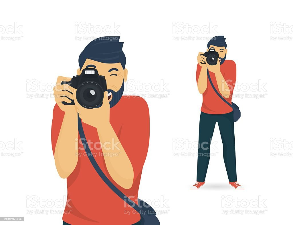 Happy photographer is taking a photo vector art illustration