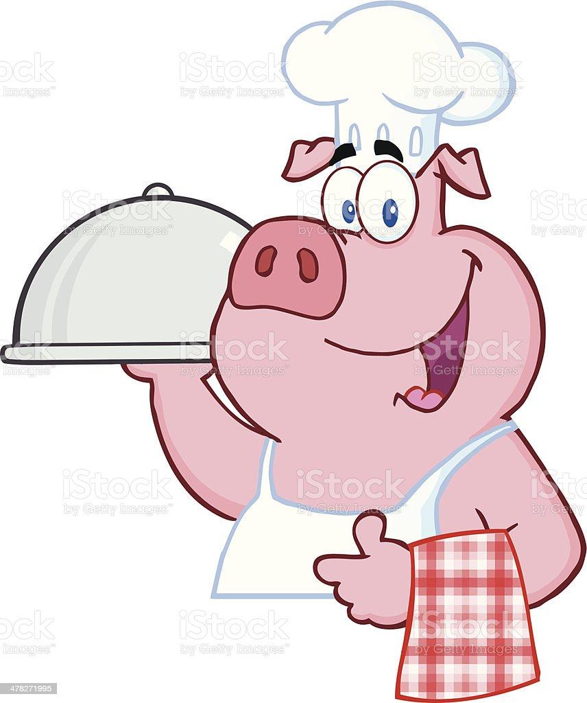 Happy Pig Chef Holding A Platter Sign vector art illustration