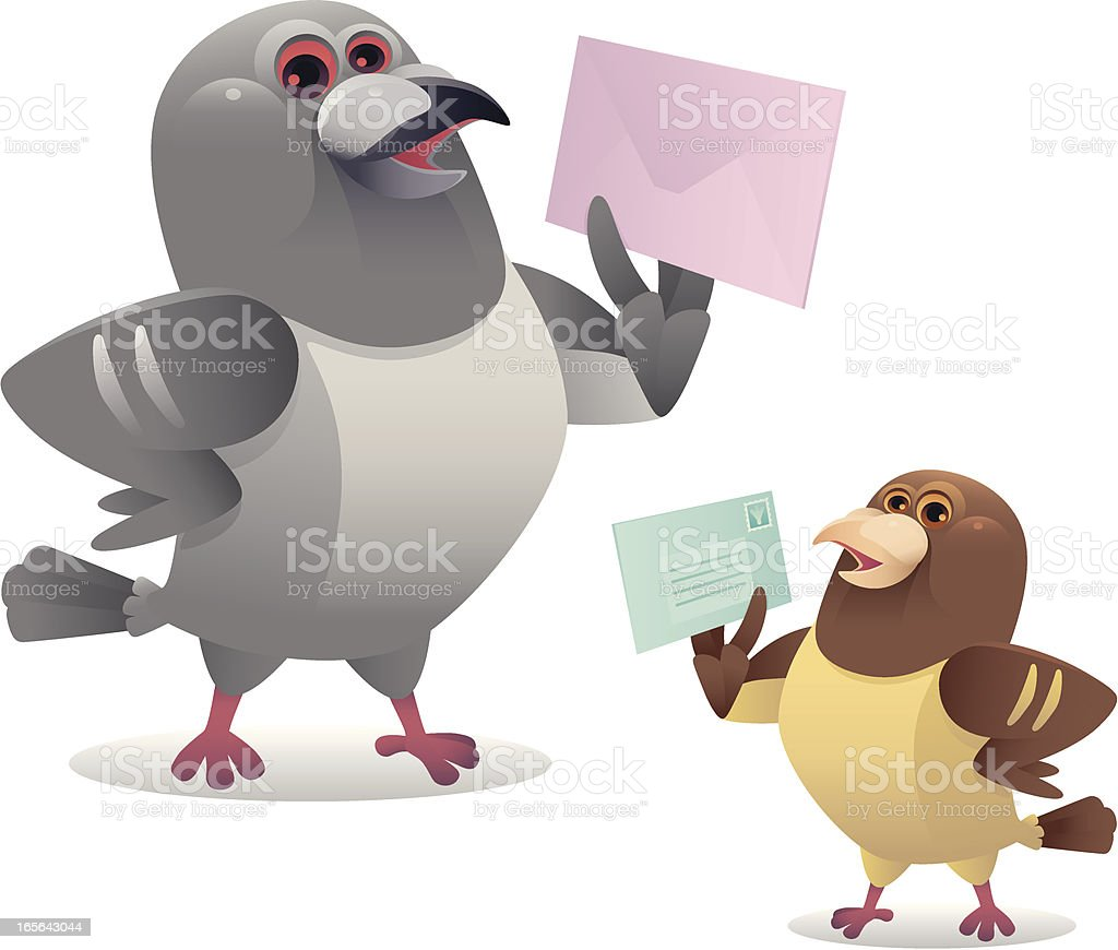 happy pigeon vector art illustration
