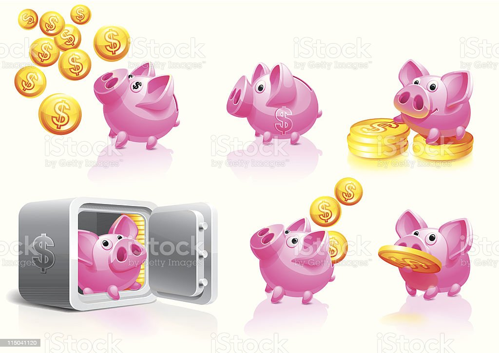 Happy Piggy Bank with coins set vector art illustration
