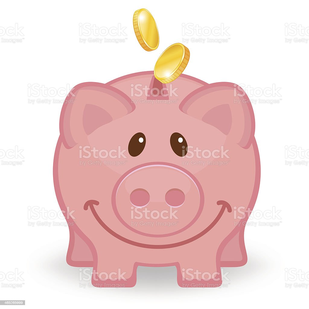 Happy piggy bank with coins vector art illustration