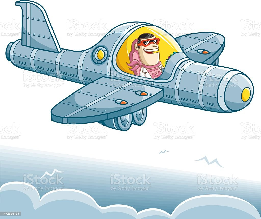 happy pilot on the way vector art illustration
