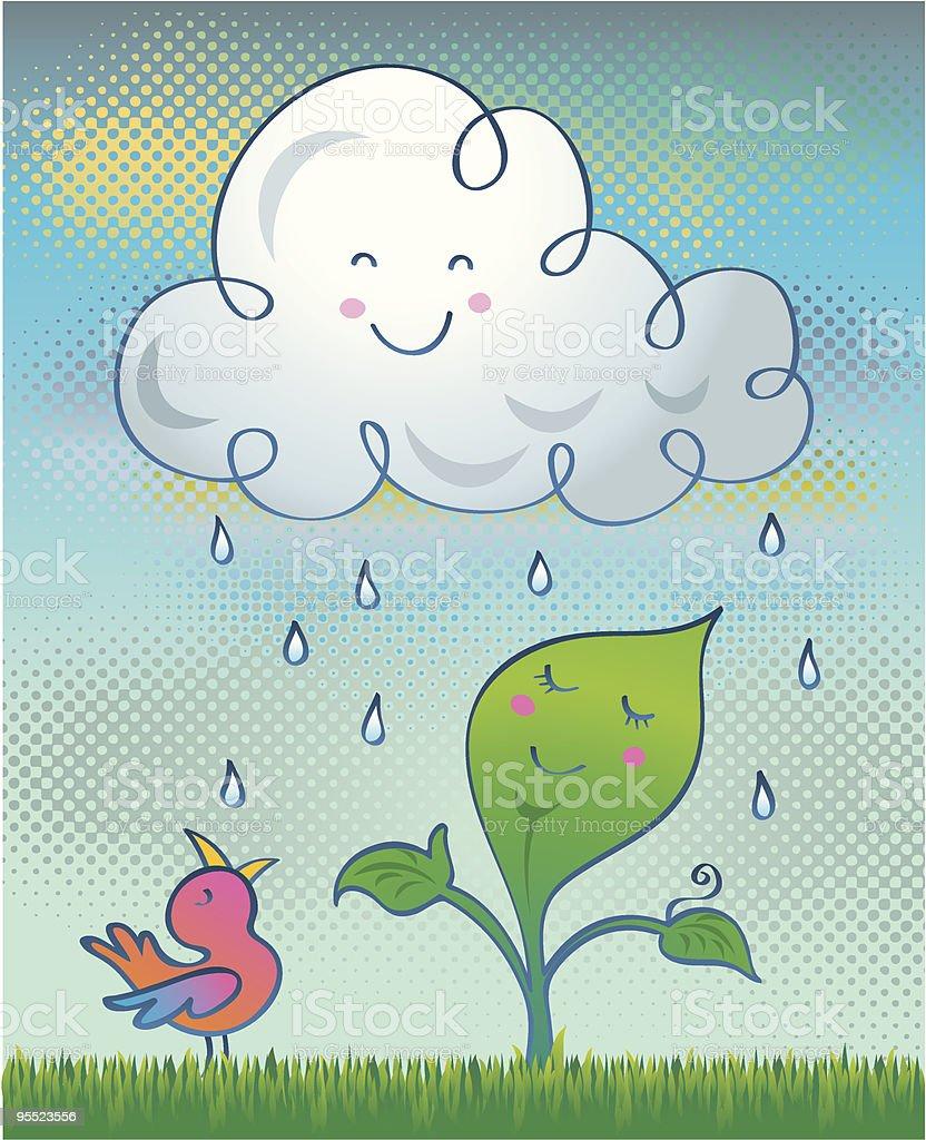 Happy plant enjoying the rain royalty-free stock vector art