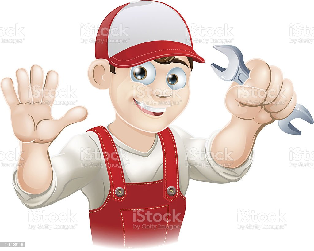 Happy plumber or mechanic with spanner royalty-free stock vector art