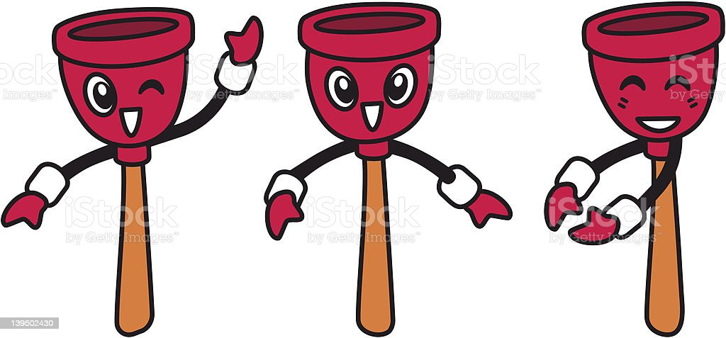 Happy plungers (vector) royalty-free stock vector art