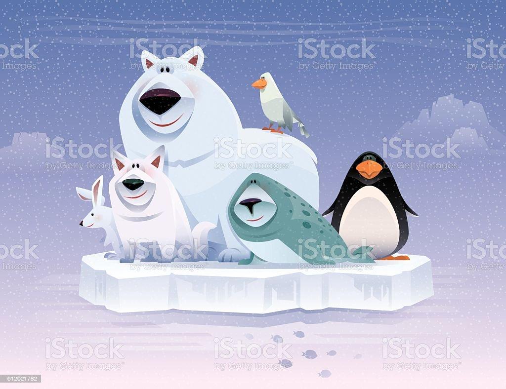 happy polar animals gathering vector art illustration