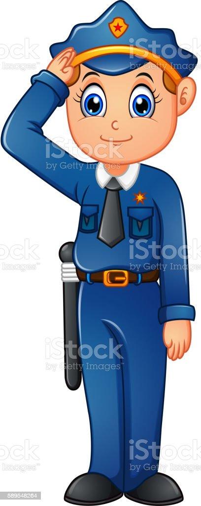 Happy police cartoon vector art illustration