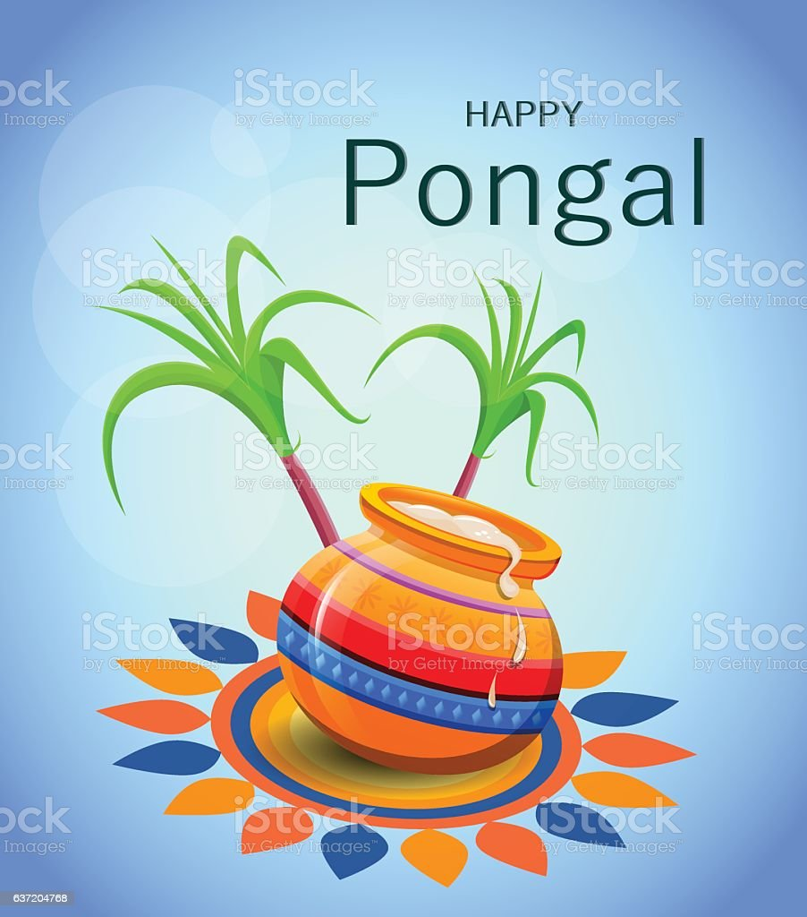 Happy Pongal greeting card on blue background. vector art illustration