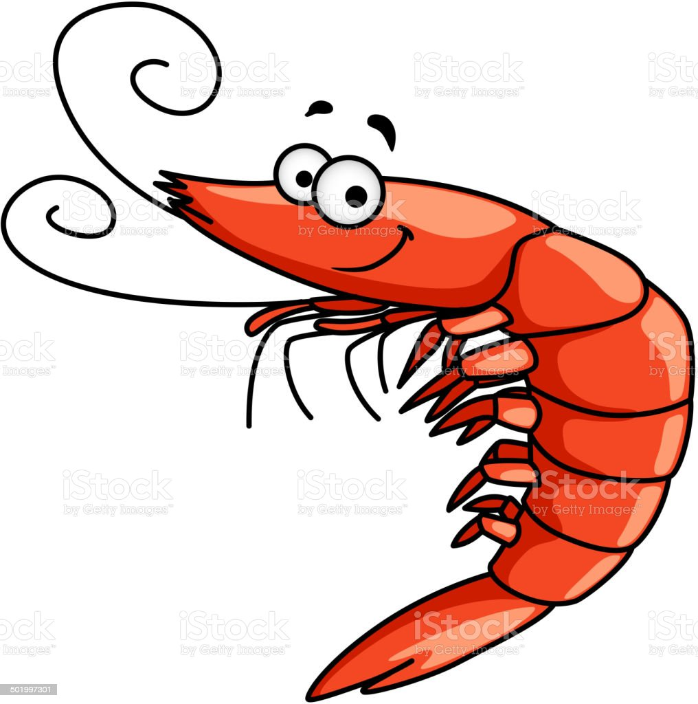 Happy prawn or shrimp with curly feelers vector art illustration