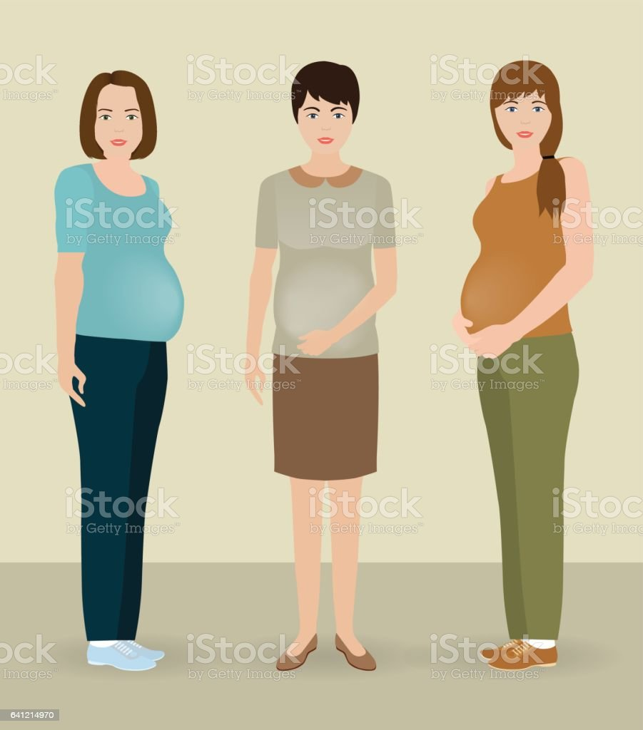 Happy pregnancy concept. Group of three pregnant women characters standing together. Future mothers community. vector art illustration