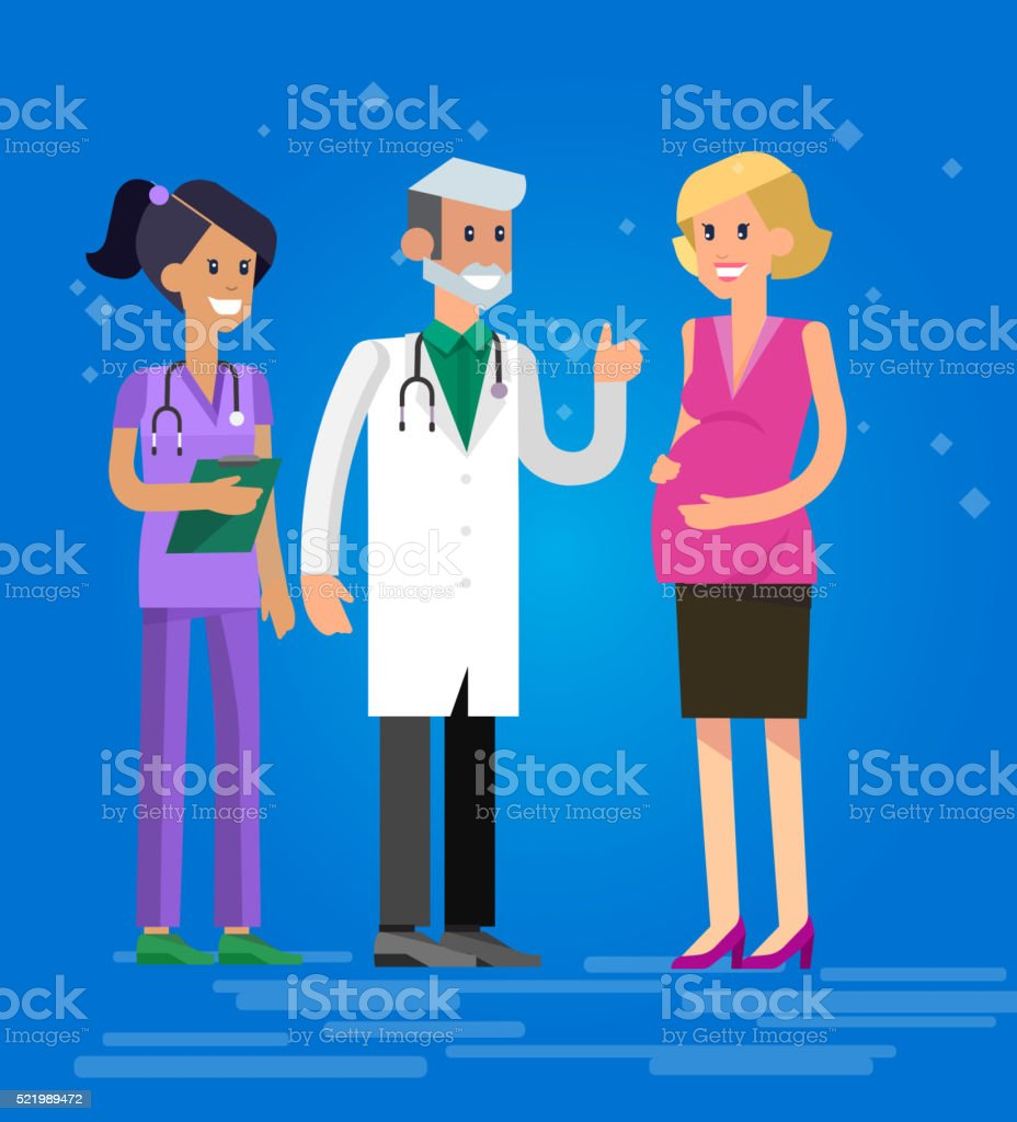 Happy pregnant woman having a doctor visit vector art illustration