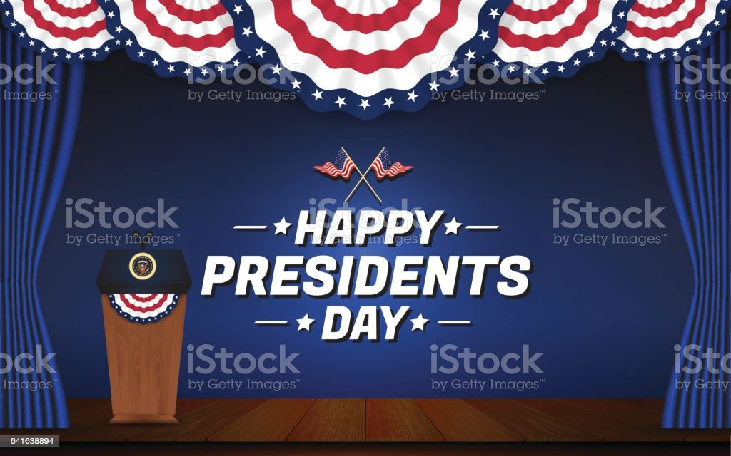 Happy presidents day background vector art illustration